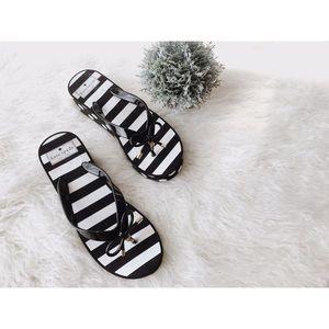 💕Kate Spade Sandals Shoes Striped Black & White 7